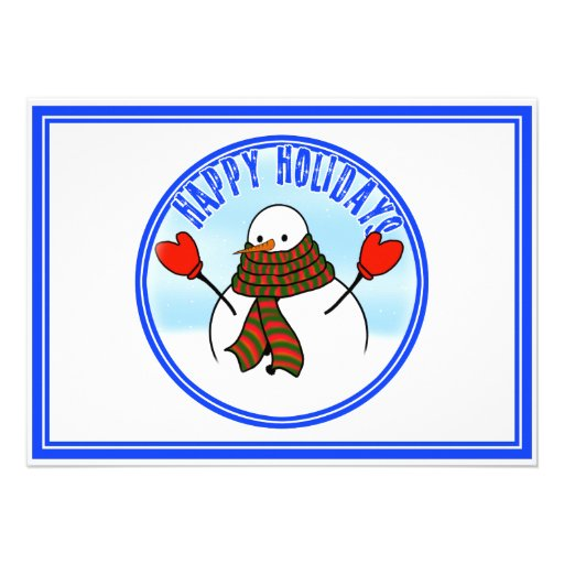 Cute Snowman With Extra Long Scarf Invitation