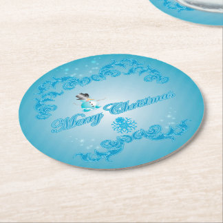 Cute snowman with soft blue background round paper coaster