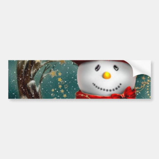 Cute snowmans - snowman illustration bumper sticker