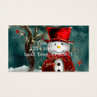 Cute snowmans - snowman illustration business card