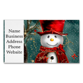 Cute snowmans - snowman illustration 	Magnetic business card