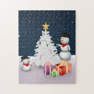 Cute Snowmen with Christmas Tree - Puzzle