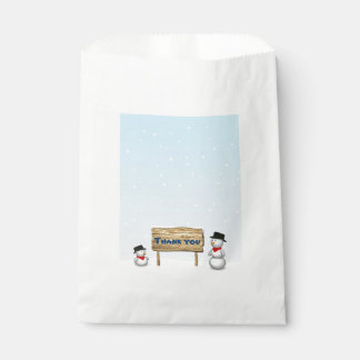 Cute Snowmen with Sign - Thank You Favor Bag