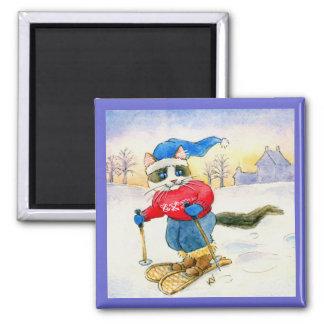 Cute snowshoe cat winter sports magnet
