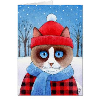 Cute Snowshoe Lumberjack Cat Christmas winter card