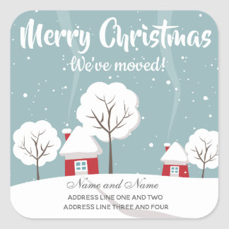 Cute Snowy Houses and Trees Square Sticker