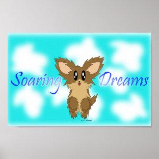 Cute Soaring Dreams Scuffy Puppy Dog Poster