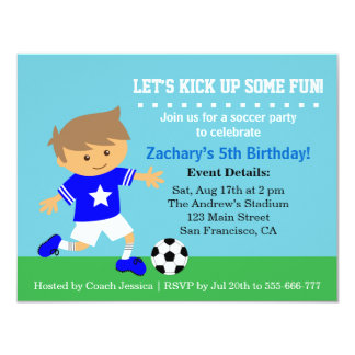 Cute Soccer Boy, Football Themed Birthday Party 11 Cm X 14 Cm Invitation Card
