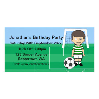Cute Soccer Player Birthday Party Photo cards