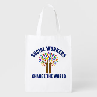 Cute Social Work Quote Reusable Grocery Bag