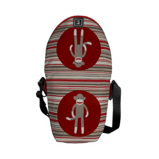Cute Sock Monkey on Red Circle Red Brown Stripes Commuter Bags