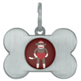 Cute Sock Monkey with Hat Holding Heart Pet Tags