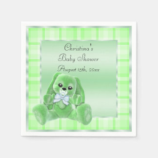 Cute Soft  Green Floppy Ears Bunny Baby Shower Disposable Serviettes