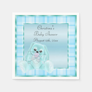 Cute Soft  Teal Floppy Ears Bunny Baby Shower Disposable Serviettes