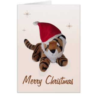 Cute Soft Toy Tiger In Santa Hat Merry Christmas Card
