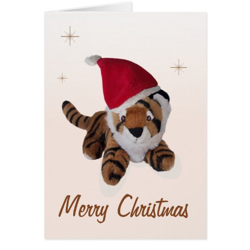 Cute Soft Toy Tiger In Santa Hat Merry Christmas Greeting Card