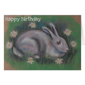 Cute soft white bunny rabbit card