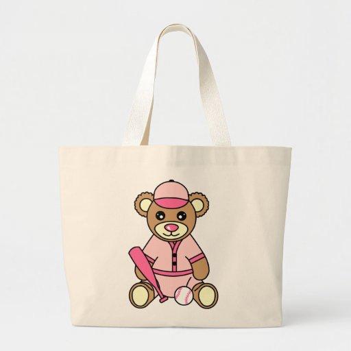 Cute Softball Girl Bear - Pink Canvas Bag