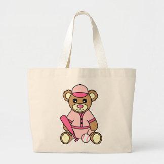 Cute Softball Girl Bear - Pink Large Tote Bag