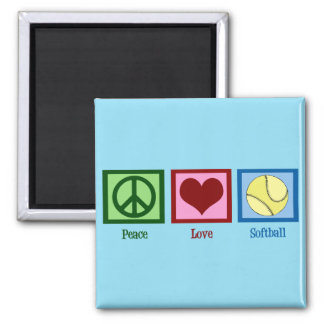 Cute Softball (Peace Love) Square Magnet