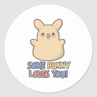 Cute Some Bunny Loves You Easter Round Sticker