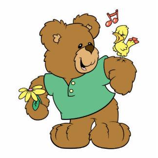 Cute Songbird and Teddy Bear Photo Sculptures