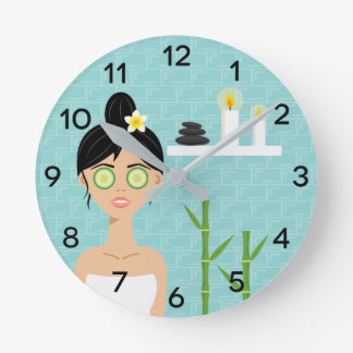 Cute Spa Woman With Candles & Bamboo Illustration Round Clock