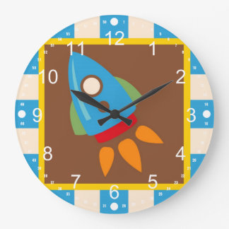 Cute Space Ship Rocket Outer Space Blue Kids Large Clock