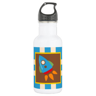 Cute Space Ship Rocket Outer Space Blue Kids 532 Ml Water Bottle