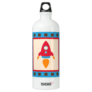 Cute Space Ship Rocket Outer Space Red Blue SIGG Traveller 1.0L Water Bottle