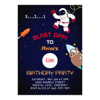 Cute Space Themed Birthday Invitations