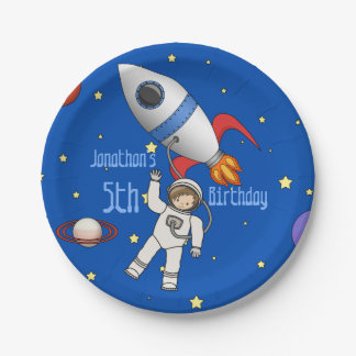 Cute Space Walk Astronaut and Rocketship 7 Inch Paper Plate