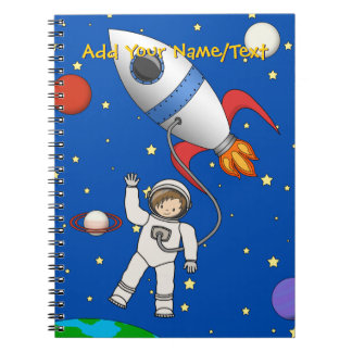 Cute Space Walk Astronaut and Rocketship Notebooks