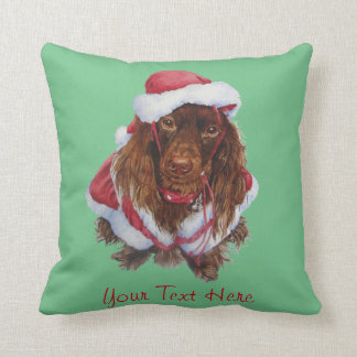 Cute spaniel dog realist art Christmas Cushion
