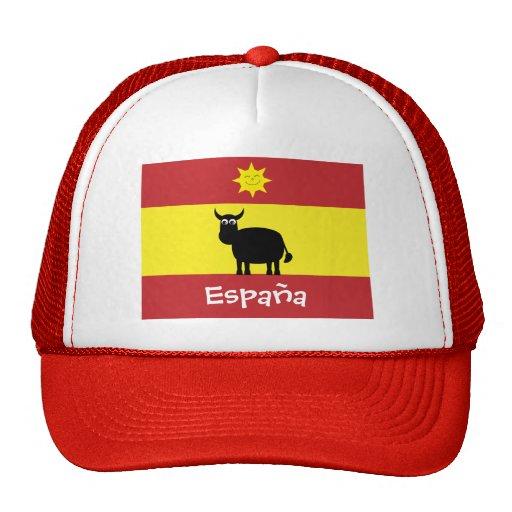 Cute Spanish Bull, Smiling Sun & Flag Trucker Hats