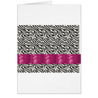 Cute SPARKLE Pink Zebra Striped Gifts Greeting Card