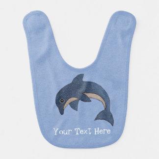 Cute Sparkling Dark Blue Jumping Dolphin Bib