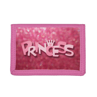 Cute Sparkly Pink Princess Bokeh Tri-fold Wallet