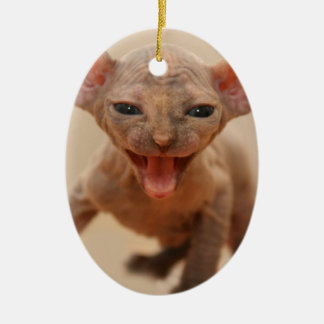 Cute sphynx kitten with tongue out ceramic ornament