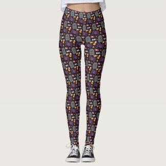 Cute Spider and Tombstone Halloween Pattern Leggings