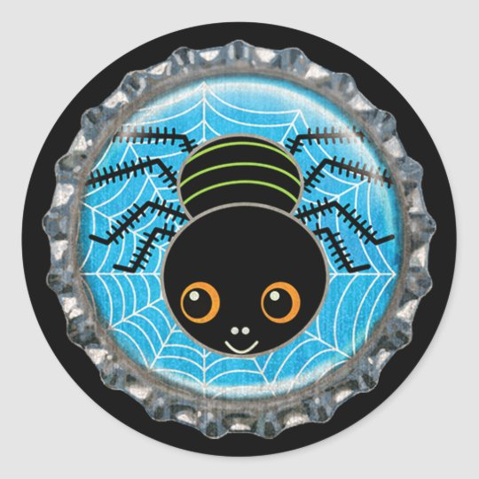 Cute Spider Halloween Bottle Cap Classic Round Sticker