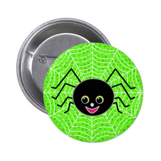 Cute Spider on Web 6 Cm Round Badge