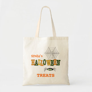 Cute Spider & Web Halloween Treat Tote Bag