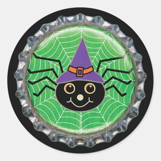 Cute Spider Witch Halloween Bottle Cap Classic Round Sticker