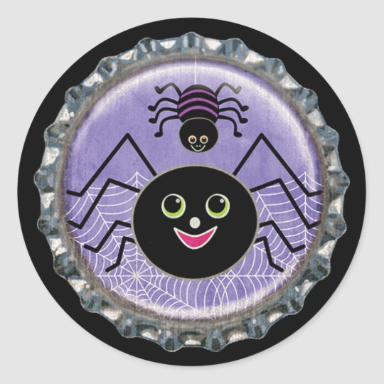 Cute Spiders Halloween Bottle Cap Classic Round Sticker