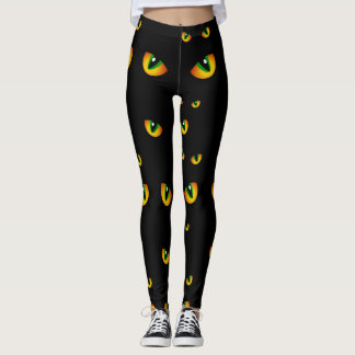 Cute Spooky Black Halloween Cat Eyes in the Night Leggings