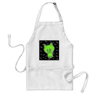 Cute Spooky Green Cat with Bats. Aprons
