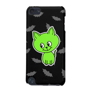 Cute Spooky Green Cat with Bats. iPod Touch 5G Cover