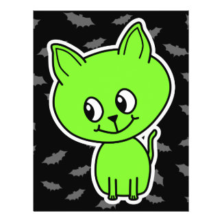 Cute Spooky Green Cat with Bats. Personalized Flyer
