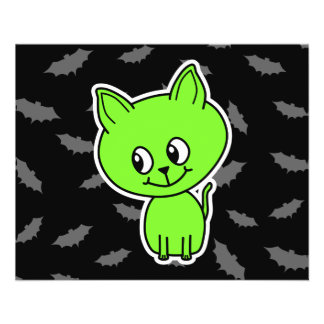 Cute Spooky Green Cat with Bats Flyer Design